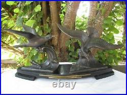 Sculpture Mouettes en Régule Socle marbre Noir sur les Vagues Art Déco