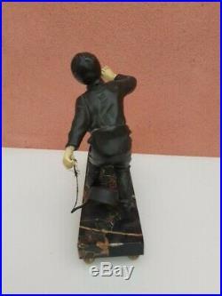 Sculpture Regule Art Deco Enfant & Son Chien