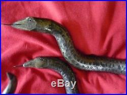 Sculpture Reptiles 2 vipères à têtes levées Art déco patinés bronze