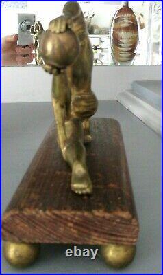 Sculpture bronze doré art deco 1930 statuette femme danseuse nue statue ancienne