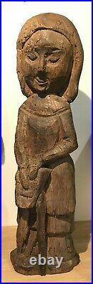 Sculpture en bois André POIRSON 1920-2003 Sainte Claire H 40cm Art Naïf Statue