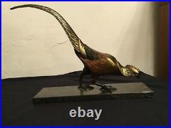 # Sculpture en bonze faisan polychrome art déco dlg Irenee Rochard 1906 1984