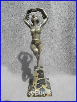 Sculpture en bronze art deco 30s statuette femme danseuse nue statue nude dancer