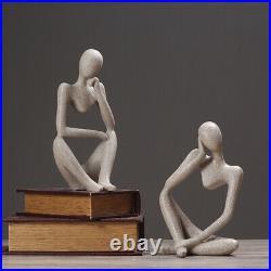 Sculpture moderne art contemporain gres abstrait penseur statue design FRANCE