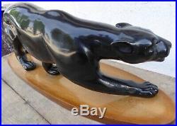 Sculpture statue grande panthère plâtre art déco dans le goût de Paul Jouve