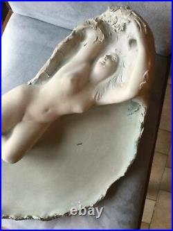 Scupture Femme Époque Art Nouveau Signée Ch CANIVET Ceramique Charenton