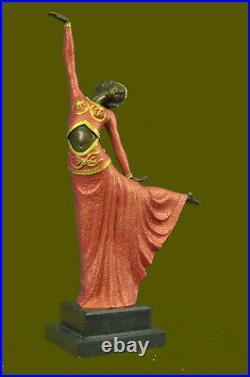 Signé Art Déco Chiparus Ventre Danseuse Bronze Marbre Sculpture Statue Figurine