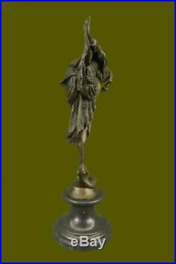 Signée Bronze Style Art Nouveau Deco Chiparus Statue Figurine Sculpture Solde
