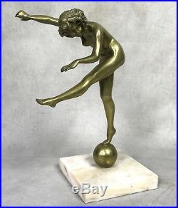 Statue Ancienne En Bronze Epoque Art Deco La Danseuse Sur Socle En Marbre