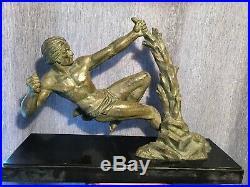 Statue Art Deco Signe Limousin. 1920 1930. Gay Homme Nu Viril
