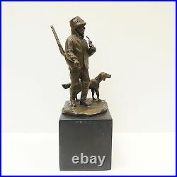 Statue Chien Chasse Animalier Chasseur Style Art Deco Bronze massif Signe