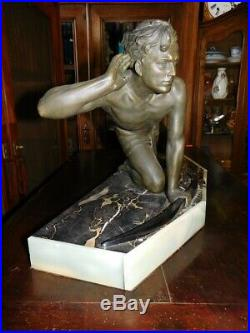 Statue En Regul Et Marbre Cipriani Art Deco 1930