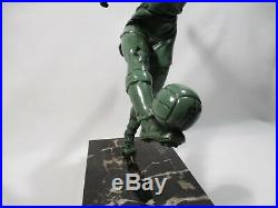 Statue En Regule Et Marbre Footballeur Art Deco Personnage Joueur De Football