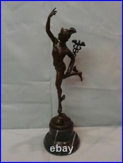 Statue Mercure Nu Style Art Deco Style Art Nouveau Bronze massif Signe
