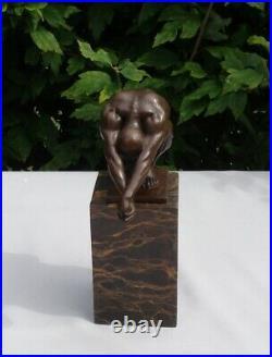 Statue Plongeur Nu Style Art Deco Style Art Nouveau Bronze massif Signe