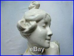 Statue, Sculpture Art Nouveau Jugendstil Buste de Femme en céramique