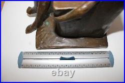 Statue Sculpture Bronze Modèle Nue Fauteuil Signé Huillard 2/8 Art Rare