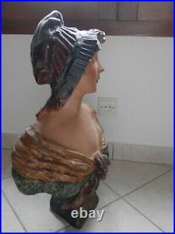 Statue Sculpture Buste de femme Manon Plâtre Art Nouveau C. Jacobs