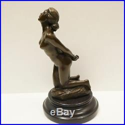 Statue Sculpture Danseuse Nue Sexy Pin-up Style Art Deco Bronze massif