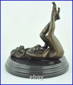 Statue Sculpture Danseuse Sexy Pin-up Style Art Deco Bronze massif