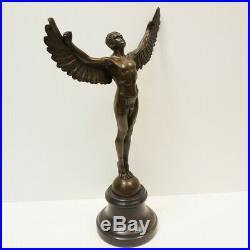 Statue Sculpture Icare Ange Nu Style Art Deco Style Art Nouveau Bronze massif Si
