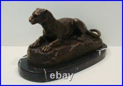 Statue Sculpture Lion Animalier Style Art Deco Style Art Nouveau Bronze massif S