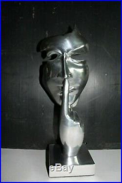 Statue Sculpture Moderne Arts Le Silence Metal