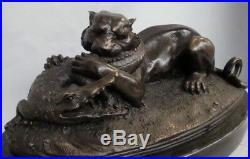 Statue Tigre Crocodile Animalier Style Art Deco Bronze massif Signe