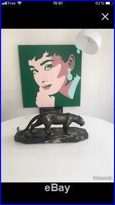 Statue animal panthère art deco Regule socle porror Marbre 46 X 19