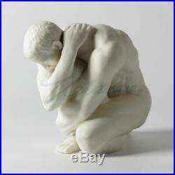 Statue homme nu erotique / Modern Art Sculpture handmade white ceramic Nude fac