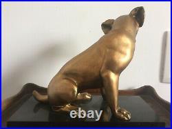Statue régule chien art déco 1930 signée