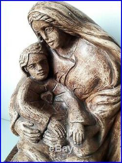 Statue sculpture vierge à l enfant de Claude ROTH ceramique faience art