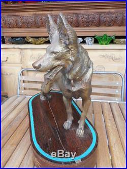 Statuette De Chien Epoque Art Deco En Bronze Dore