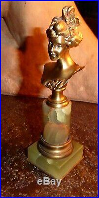 Statuette JUGENDSTIL ART NOUVEAU buste femme bronze onyx Henri Jacobs