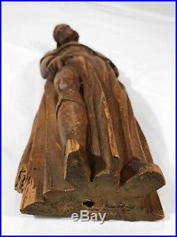 Statuette Saint Roch Montpellier bois sculpté art populaire XVII XVIII wood 28cm