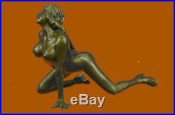 Substantiel Superbe Érotique Nu Bronze Statue Figurine Sculpture Art Déco Cire
