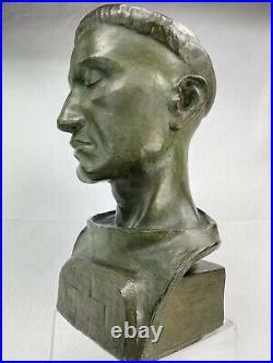 Superbe Statue Art Deco Buste Homme Terre Cuite Patinee Signe G. Martel Religion