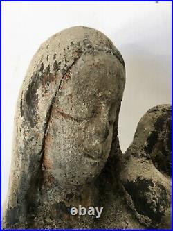 TRÈS ANCIENNE VIERGE à l'ENFANT SCULPTURE BOIS ART POPULAIRE 45 cm