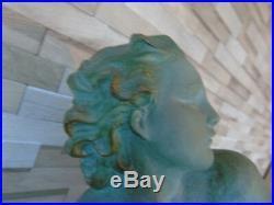 Ugo Cipriani Superbe Tres Grde Sculpt. Terre Cuite Patine Verte Art Deco Signee