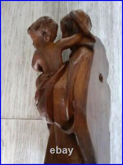 VIERGE A L'ENFANT Murale, bois sculpté, Art populaire religieux, Eglise, 45 cm