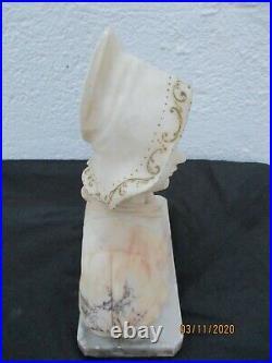 Vicari sculpture marbre buste femme coiffe régionale epoque art nouveau