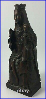 Vierge A L Enfant En Bois Chene XIX Eme Belle Patine Travail Art Populaire A961