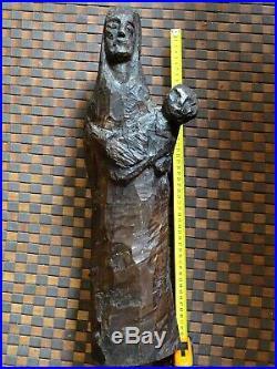 Vierge À L'enfant-étonnante Sculpture Art Populaire/art Brute-première Moitié XX