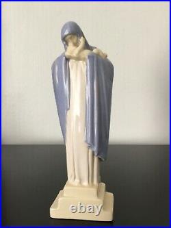 Vierge Art Déco en céramique signée Lucienne HEUVELMANS