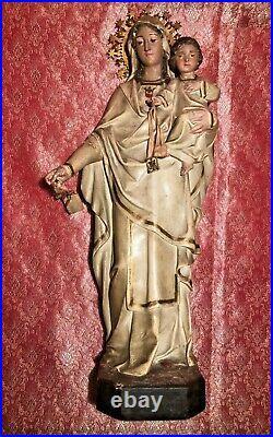 Vierge Avec Enfant. L'art Chrétien. Stucco Polychrome. Espagne. Xix-xx