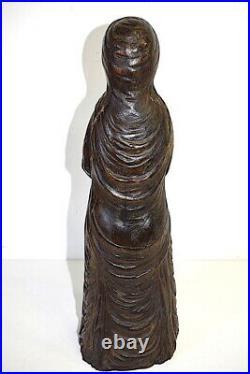 Vierge Bois Sculpté Art populaire XVIII ou XIX ème wood carved religion