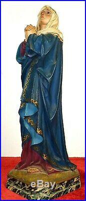 Vierge Douloureuse. Polychromed Stuck. Avec Sceau Arts Religieux. Espagne. XIX