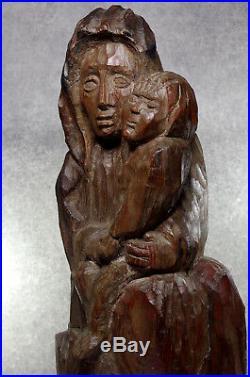 Vierge à l'Enfant Statue Art populaire religieuse Sculpture en bois 18ème