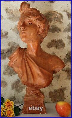 XXe Buste Thaïs d'après Emmanuel VILLANIS Plâtre Terre Cuite Statue Art Nouveau
