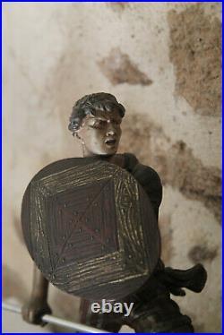 XXe Grande Statue 20kg Guerrier Chasseur & Panthère Régule et Marbre Art Déco